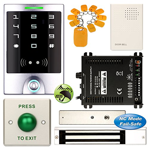 DIY Access Control Waterproof Keypad Office RFID Entry System + Electric Magnetic Door Lock NC Fail Safe by Generic