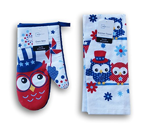 Summer Patriotic Owls Patterned Kitchen Set -