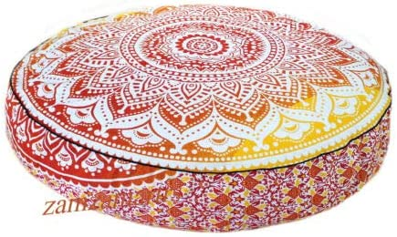 Indian Blue Ombre Mandala Round Ottoman Footstool Decorative Handmade Floor Chair Cover 14 x 24 Approx.