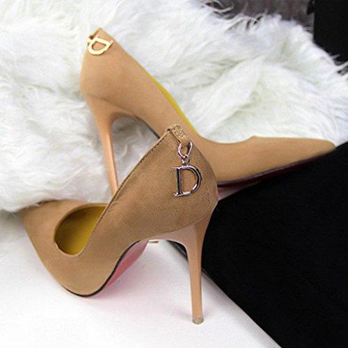 Minetom Damen Frühling Pumps Hohen Absätzen Schuhe Pointed Toe Stiletto Wildleder Klassischer Damenschuh Khaki