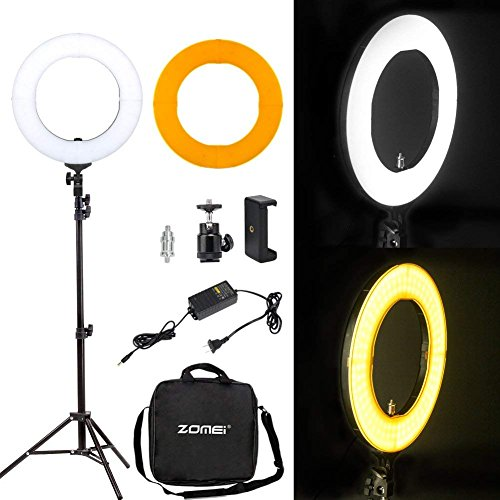 Zomei 14'' LED Ring Light with Light Stand- 41W 5500K Dimmable Lighting Kit with Phone Adapter for Smartphone for YouTube Video, Makeup, Portrait by ZoMei