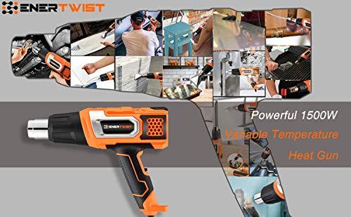 EnerTwist Heat Gun 1500 Watt Variable Temperature Control Hot Air Tool Kit Heating Protect for Shrink Wrap, Vinyl, Paint Removal, Wiring, Soldering, Crafts, Automotive, Tubing, Electronics Repair by ENERTWIST (Image #4)