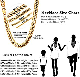U7 Men Hip Hop Chunky Chain Width 3 5mm 12mm Custom Engrave Available Stainless Steel Black Gum 18k Gold Plated Jewelry Thick Franco Curb Link Necklace Length 18 20 22 24 26 28 30 36 Large