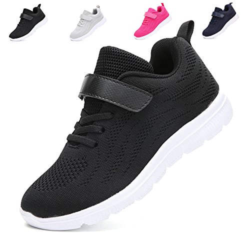 Price comparison product image adituo Kids Lightweight Sneakers Boys and Girls Cute Breathable Athletic Walking Casual Running Shoes Black30