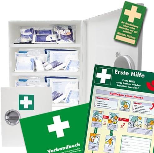 Verbandsschrank - Erste Hilfe Schrank - Kasten DIN 13157 inkl. Füllung, Verbandbuch und 10 Prüfsiegel und Anleitung zur Ersten Hilfe