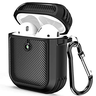 SKYLMW AirPods Case Cover,[Front LED Visible] Full-Body Protection Shockproof Anti-Lost Protective Soft TPU with Keychain Case AirPods Accessories Skin Cover Compatible for AirPods 2 and 1 (Black)