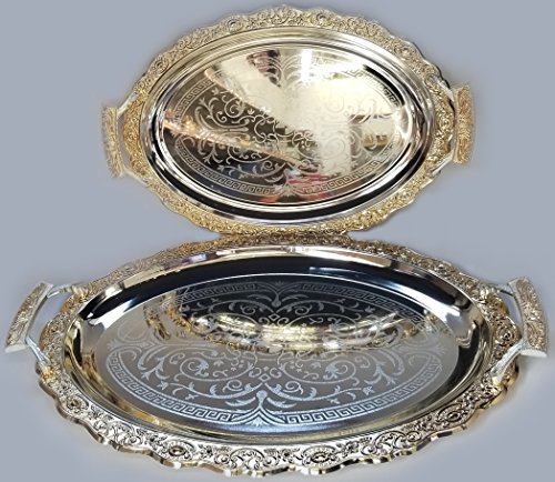 Luxury Linen Beautiful Decorative 2 Pieces Stainless Steel Tea & Coffee Serving Tray Gold and Silver Plated Serving Tray Oval Platter Glossy, Party Serving With Metal Handles New # 5658 ()