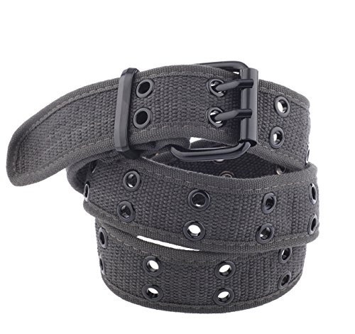 Unisex Two-Hole Canvas Belt - Available in 13 Colors (WB-211)(X-Large, Dark Grey)