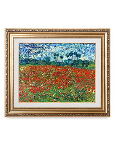 IPIC - Poppy Field Floral Vintage, Vincent Van Gogh Art Reproduction. Giclee Canvas Prints Wall Art with classic golden frame. Screen Size:30X16'',Framed Size: 36x30'' by IPIC