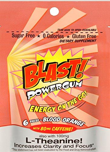 Orange Blast (Blast Power Gum Blood Orange Flavor with 80mg Caffeine, 6 Pieces per Pouch)