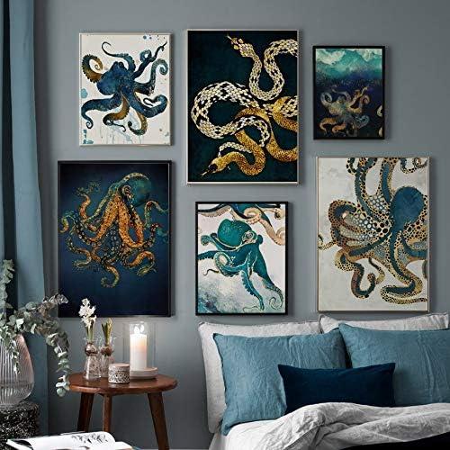 Druck Dekoration 50X70 cm Ohne gerahmt B Leinwand Wand Leinwand Oktopus und Schlange Poster Wohnzimmer ndegdgswg Nordische Tintenfisch