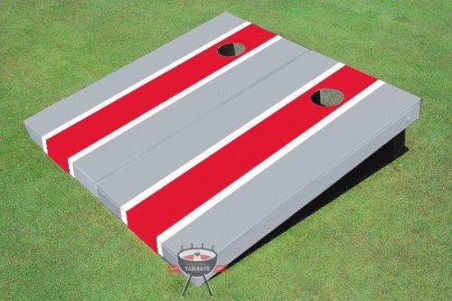Red and Gray Matching Long Stripe Corn Hole Boards Cornhole Game Set