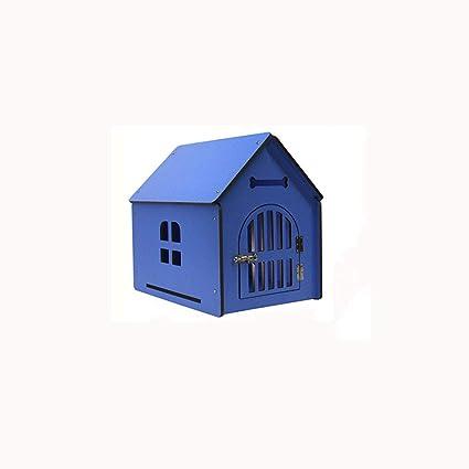 Lijin light Gran Azul Perrera de Madera Maciza Perros Grandes y medianos al Aire Libre casa