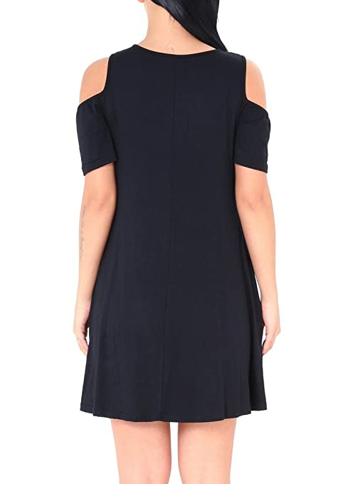 7661fe579ac7a CinGr8 Cross Front V Neck Cold Shoulder Top T-shirt Swing Dress With Pockets  at Amazon Women s Clothing store