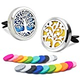 in car air freshener - DAILUMI 2PCS Car Air Freshener Aromatherapy Essential Oil Diffuser Vent Clip - Flower & Tree of Life Good Luck Fragrance Locket with 20 Refill Pads Portable for Office Travel Home Vehicle