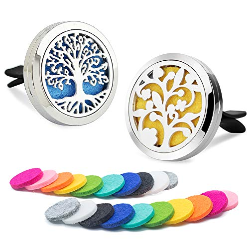 DAILUMI 2PCS Tree of Life Car Diffuser Air Freshener Aromatherapy Essential Oil Vent Clip - Flower & Tree of Life Fragrance Locket with 20 Refill Pads Portable for Office Travel Home Vehicle