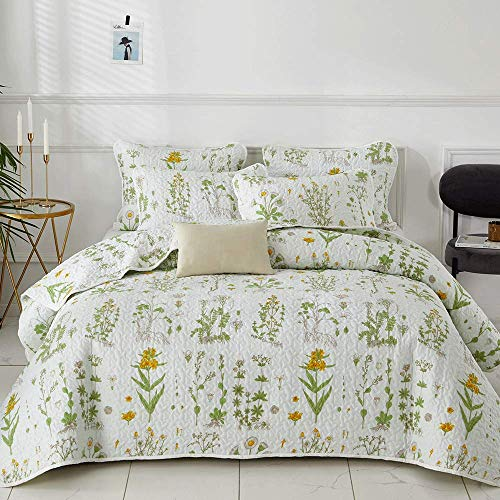 Joyreap 3 Pieces Microfiber Quilt Set, Lightweight Summer Quilt, Yellow Flowers Green Leaves on White, Bedspread Bed Cover for All Season, 1 Quilt n 2 Pillow Shams (Botanical, Full/Queen)