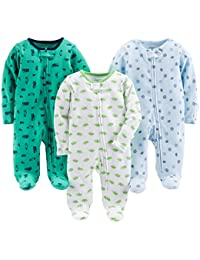 Baby Boys' 3-Pack Cotton Footed Sleep and Play