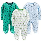 Simple Joys by Carter's Baby Boys' 3-Pack Sleep and Play, Sports, Cars, Dino with Cuffs, Preemie