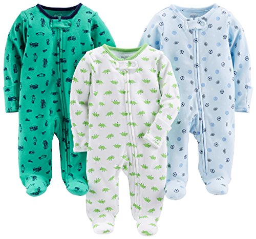 Simple Joys by Carter's Baby Boys' 3-Pack Sleep and Play, Sports, Cars, Dino with Cuffs, Newborn