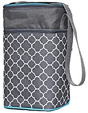 J.L. Childress 6 Bottle Cooler, Insulated Breastmilk Cooler & Lunch Bag for Baby Food & Bottles, Leak-Proof & Heat-Sealed, Ice Pack Included, Grey/Teal Clover (3105GY-CL)