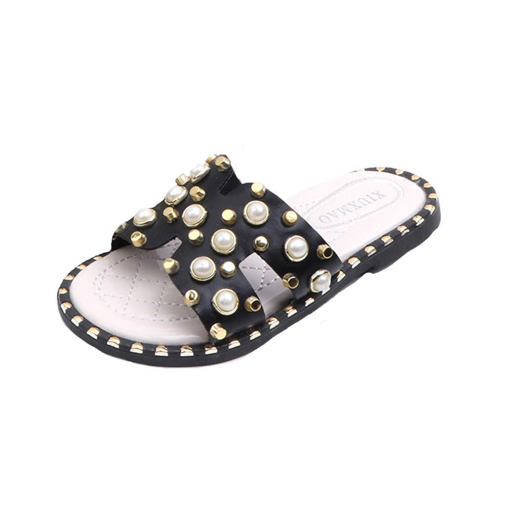 Cloudro Kid Little Girl Beach Sandal Pearl Princess Soft Shoes Slipper for 4-14 Year