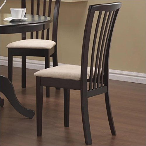 Brannan Slat Back Side Chairs with Upholstered Seat Cappuccino and Cream (Set of 2) by Coaster Home Furnishings (Image #1)