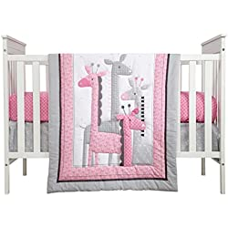 Little Love by NoJo Giraffe Time 4 Piece Bedding Set, Pink and White