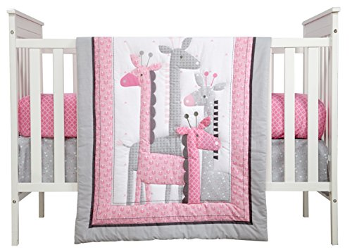 (Little Love by NoJo Giraffe Time 4 Piece Bedding Set, Pink)