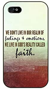 We don't live in our realm of feelings and emotions, we live in God's faith - Red sea - Bible verse iPhone 4/ 4s black plastic case / Christian Verses