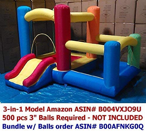 "Perfect Size for Indoor Use - My Bouncer 3-in-1 Little Castle Bounce 118"" L X 102"" D X 72"" H with Attached Ball Pit and Slide"