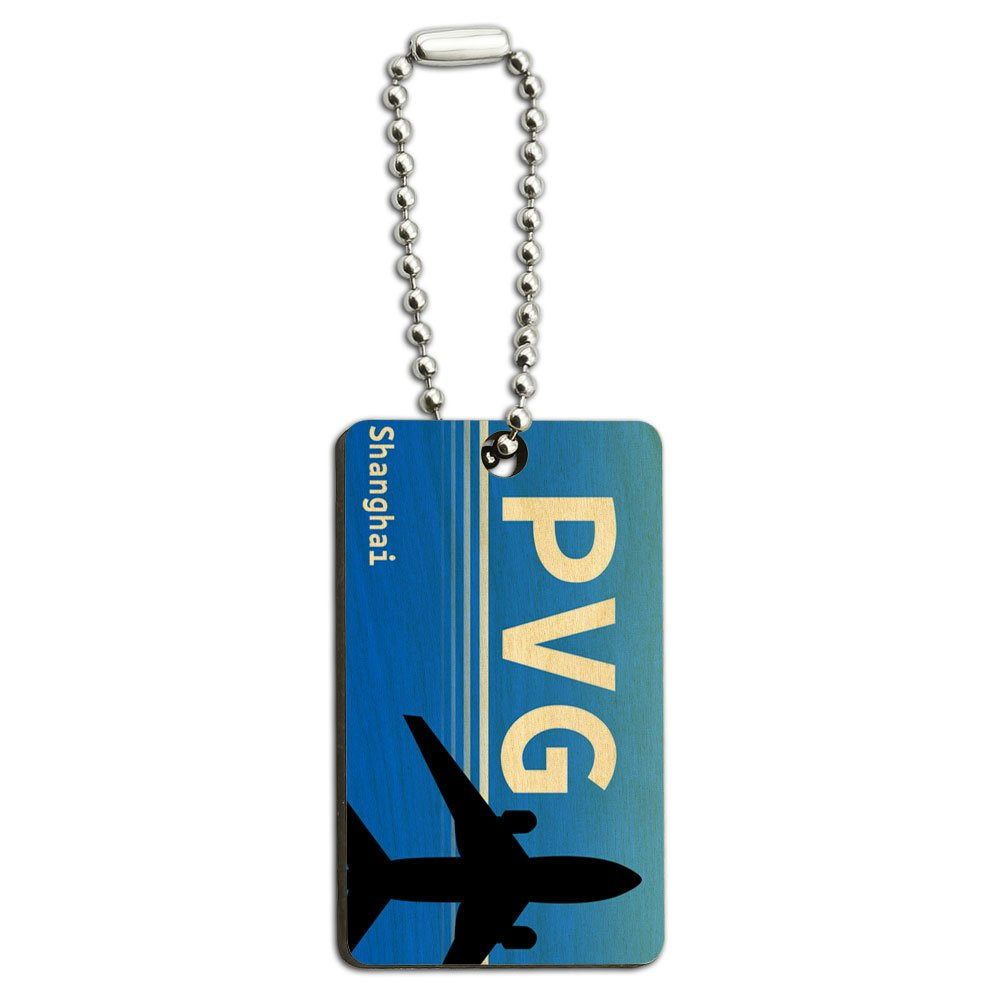 Shanghai China (PVG) Airport Code Wood Wooden Rectangle Key Chain