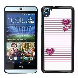 LECELL--Funda protectora / Cubierta / Piel For HTC Desire D826 -- Líneas rosadas del amor del corazón negro --