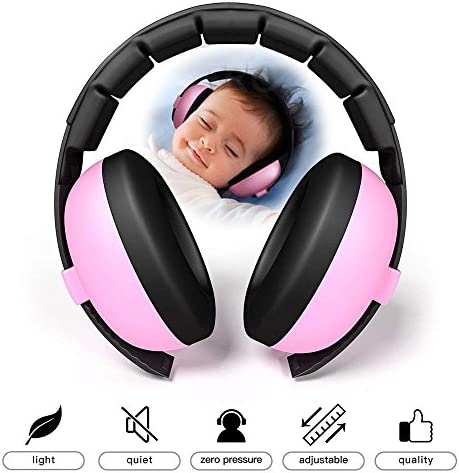 Kobwa Baby-Gehörschutz-Kopfhörer mit Geräuschunterdrückung für Kinder und Kleinkinder, verstellbar für 3 Monate bis 10 Jahre rose