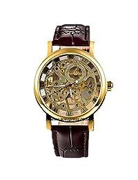 GuTe Dress Golden Skeleton Mechanical Wrist Watch Hand-wind Dark Brown Strap