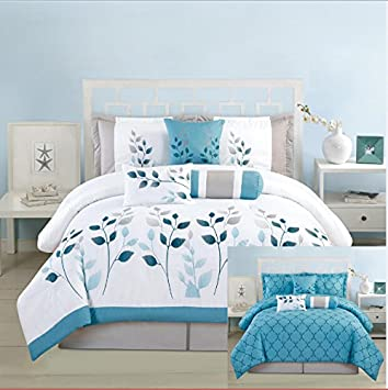 7 pieces luxury reversible blue white and grey comforter set bedin