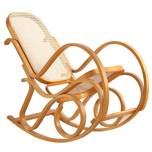 Rocking Chair Rattan Knitting Leisure Chair Vintage Living Room Furniture Conservatory Relax Bentwood Birch Easy Chair (Wood color) by FULANDE