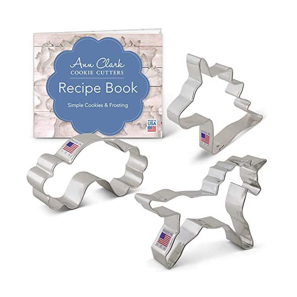 Ann Clark Cookie Cutters 3-Piece Fantasy Unicorn Cookie Cutter Set with Recipe Booklet, Unicorn Head, Unicorn, and… 3