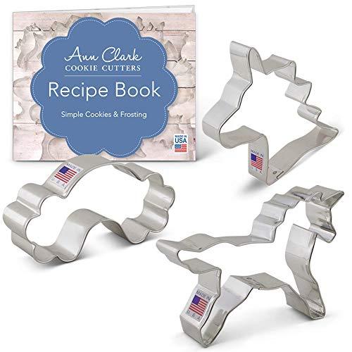 Fantasy Unicorn Cookie Cutter Set with Recipe Book - 3 Piece - Unicorn Head, Unicorn, and Rainbow - Ann Clark Cookie Cutters - USA Made Steel