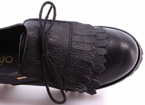 Damen Schuhe LIU JO Laced Frange Leather Black Made In Italy New Leder Schwarz