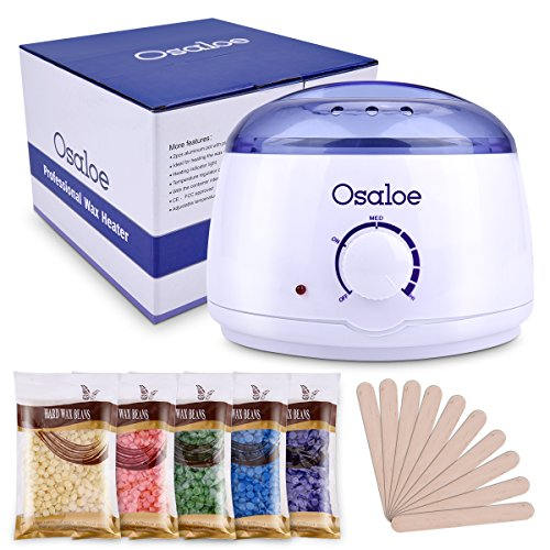 Wax Warmer, Osaloe Hair Removal Waxing Kit, Portable Electric Wax Heater with 5 Kinds Hard Wax Beans, 10 Wax Applicator for Facial Skin Body Hand Foot Leg Hair Remover