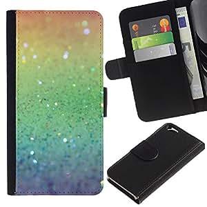 EJOY---La carpeta del tirón la caja de cuero de alta calidad de la PU Caso protector / Apple Iphone 6 / --Rainbow ing Plata Verde