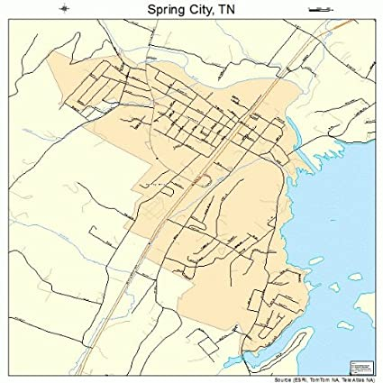 Amazon.com: Large Street & Road Map of Spring City, Tennessee TN ...