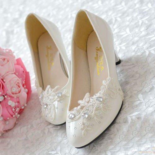 8cm 3.1  JINGXINSTORE Floral dentelle blanche mariage Mariée chaussure talon haut talon plate-forme de travail UK7 EU40 US9 AU9