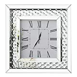 RICHTOP Wall Clock Modern Mirror Design With Crystal Nearly Silent Large Square Quartz 3D Wall Clocks Roman Numerals for Living room, Bedroom, kitchen, Office Dia 50cm Silver
