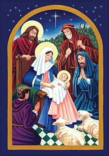 Toland Home Garden Nativity Night 12.5 x 18 Inch Decorative Colorful Christmas Jesus Birth Garden Flag - 111242 -