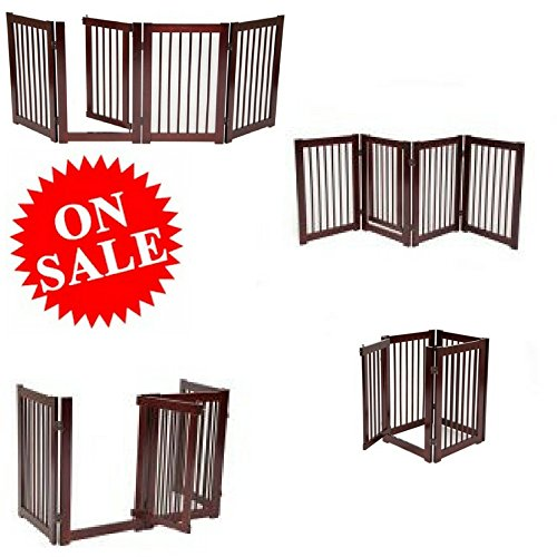 Tall Wide Pet Gate Portable Expandable from Large to Narrow Baby and Pet Door Wooden Baby Gate with Pet Door Barrier Fence Gate eBookm by Easy&FunDeals by EFD