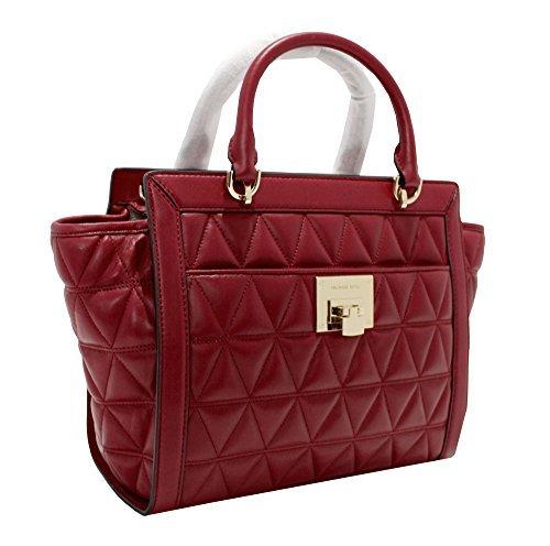 MICHAEL Michael Kors Women's Vivianne Large Satchel Leather Handbag (Cherry)