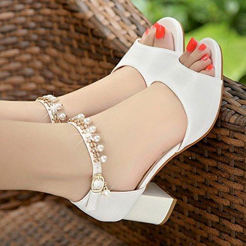 Zapatos Peep BAJIAN Zapatos Verano heelsWomen Chanclas Alto Señoras Toe Bajos Sandalias LI Sandalias aX7XFAx