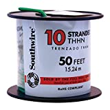 Southwire 22977336 Simpull THHN or THWN2, 10 Gauge THHN Stranded Wire, 50' per Roll, Green by Southwire
